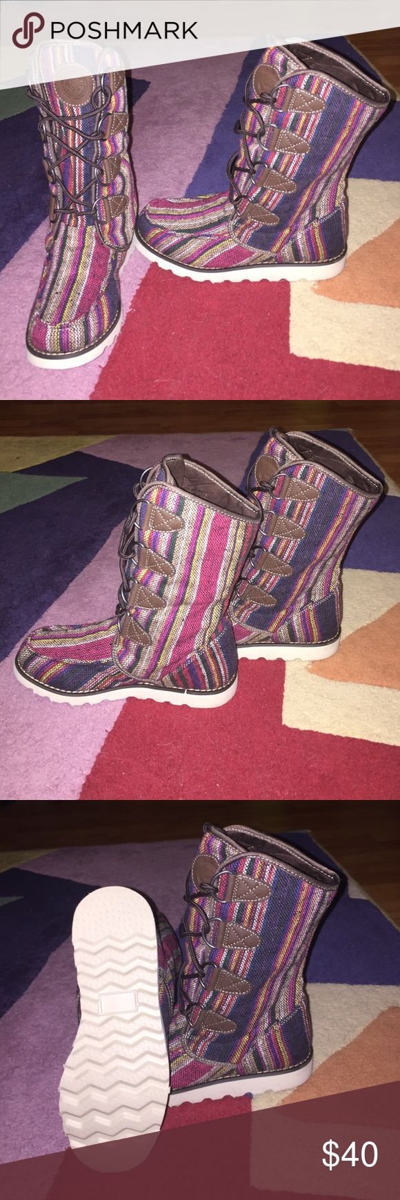 Multi-color Hi-Tec lace up winter boots Never worn! I have them in another color and they are super comfortable. Great with leggings! The thinsulate lining keeps your feet nice and dry! Hi-Tec Shoes Winter & Rain Boots