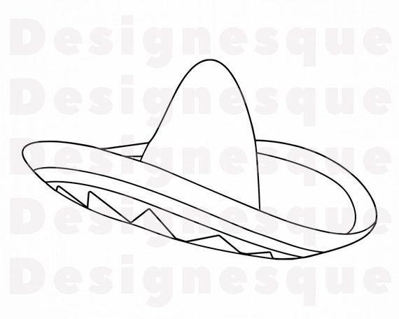 Sombrero Outline 8 Svg Sombrero Svg Hat Sombrero Clipart Etsy In 2021 Svg Clip Art Sombrero