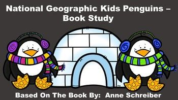 """This product goes along with the book """"National Geographic Kids Penguins"""", by Anne Schreiber. This is a non-fiction, informational book that gives children fascinating facts with amazing photographs about penguins. This pack includes an anticipation guide, review quiz, glossary page, vocabulary review, table of contents activity, word cards, and writing paper."""