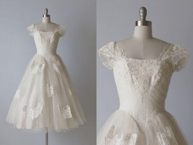 Tea Length Wedding Dress / 1950s Wedding Dress / 50s Lace Dress /  Priscilla of Boston. $424.00, via Etsy.