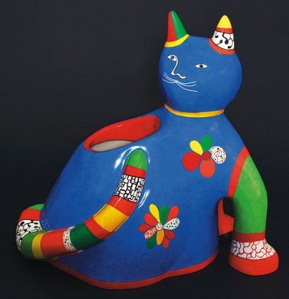 Niki de SAINT-PHALLE (Neuilly-sur-Seine 1930 - San Diego 2002) CHAT « JARDINIER », 1991 Polyester peint. Signé et