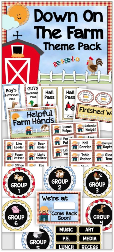 Farm theme classroom decor pack - 125 pages of signs, banners, labels, posters, and more!