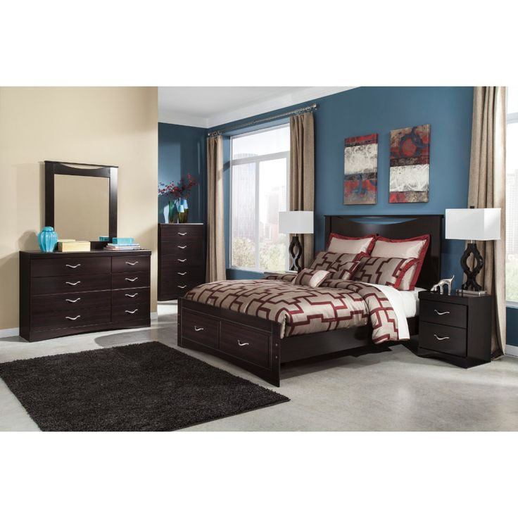 Ashley Furniture Zanbury Panel Bedroom Set with Storage in Merlot