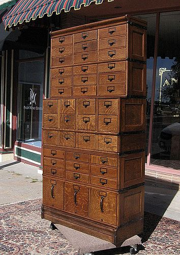 Oh the Storage!  And the wood grain! via Eastlake Victorian: My Eastlake Victorian Inspiration...