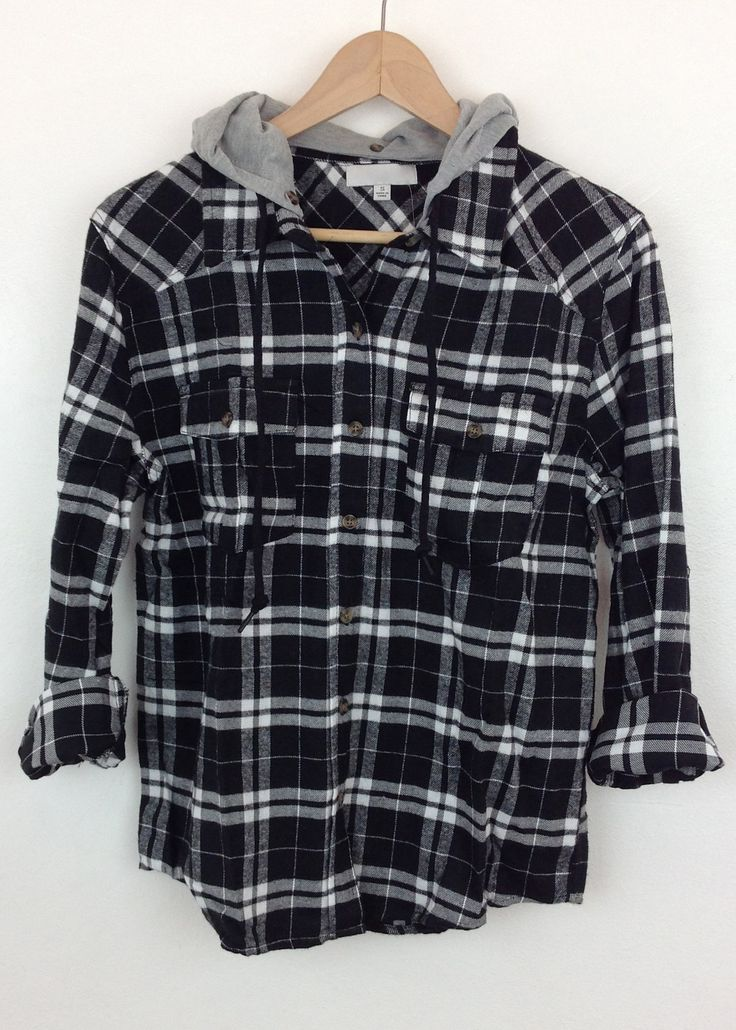 hooded black flannel shirt