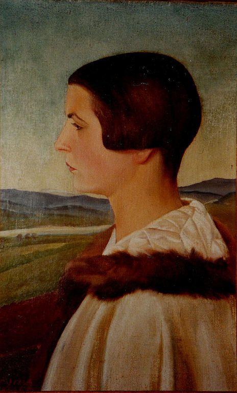 Anny vor Landschaft, um 1925, by Sergius Pauser (Austrian 1896-1970) Mischtechnik auf Leinwand,