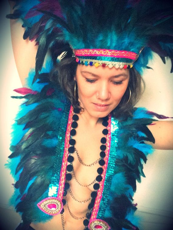 Turquoise and pink festival feather by feathersandthreaduk on Etsy