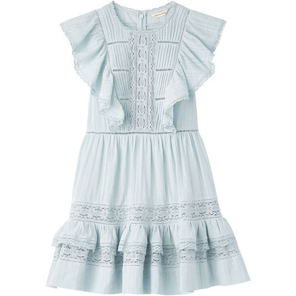 Cotton Gauze Dress (1.987.660 IDR) ❤ liked on Polyvore featuring dresses, flutter-sleeve dresses, frilly dresses, ruffle dress, flounce dress and flouncy dress