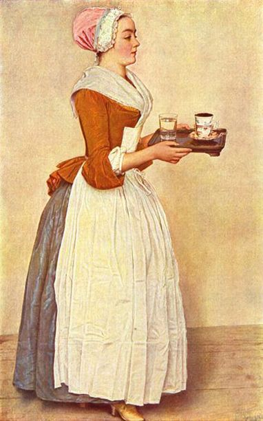 """1745 """"The Chocolate Maid"""" by Jean Etienne Liotard. """"Coifs and bonnets to make yourself"""" by Laila Durán, Durán Textiles."""