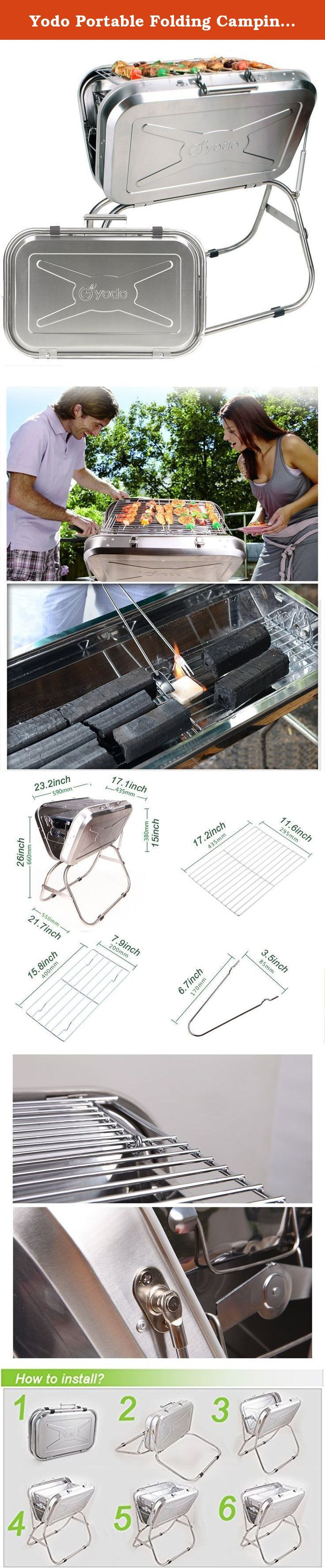 Yodo Portable Folding Camping Grill Charcoal Barbecue Grill for 2-4 Person Tailgate Roadtrip Backpacking Party, Made of Premium Stainless Steel. Are you looking for a high quality portable and compact BBQ Grill? This Yodo Stainless Steel BBQ grill would be a great choice for you. It could be packed into a compact suitcase measures about 23.2 x 15 inches What kinds of benefits it will bring to you? High quality Stainless Steel Grill is much more durable and easy clean than traditional iron...