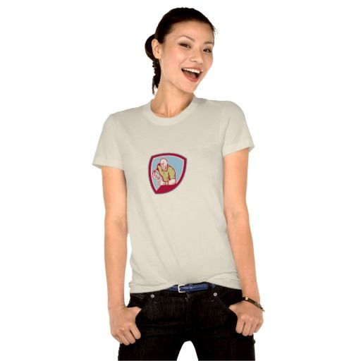 Rugby Player Running Charging Shield Cartoon Shirts. Rugby World Cup women's t-shirt designed with an illustration of a rugby player with ball running charging set inside shield crest done in cartoon style on isolated background. #rwc #rwc2015 #rugbyworldcup