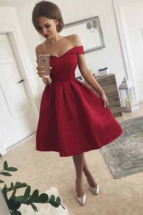 1b2d6da6211 Simple Off the Shoulder Homecoming Dress