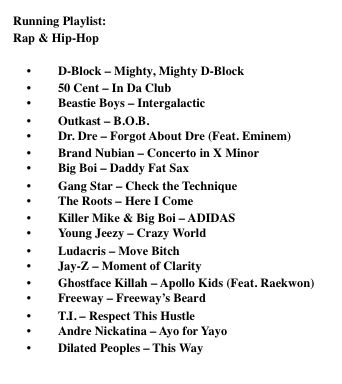 rap & hip hop running playlist