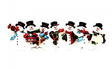 Merry Christmas, snowmen, orchestra, funny, white background wallpaper