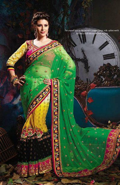 USD 192.99 Green and Yellow Jacquard Wedding Saree    35537