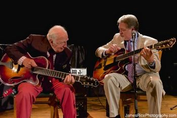 Bucky Pizzarelli and Ed Laub playing guitar.  They will be playing at the Les Paul 99th Birthday Gala. Details on tickets can be found on www.mahwahmuseum.org