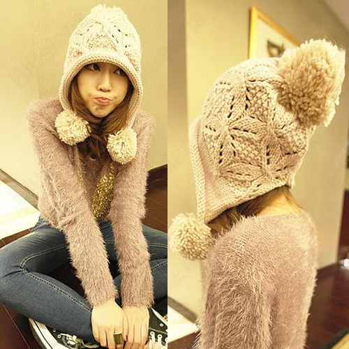 Korean Womens Sweet Large Ball Ear Protecting Crochet Hand Made Bowtie  Knitting Sweater Hat Cap Beanie by Bluelanscom