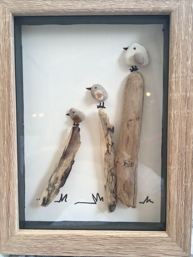 Pebble art birds picture