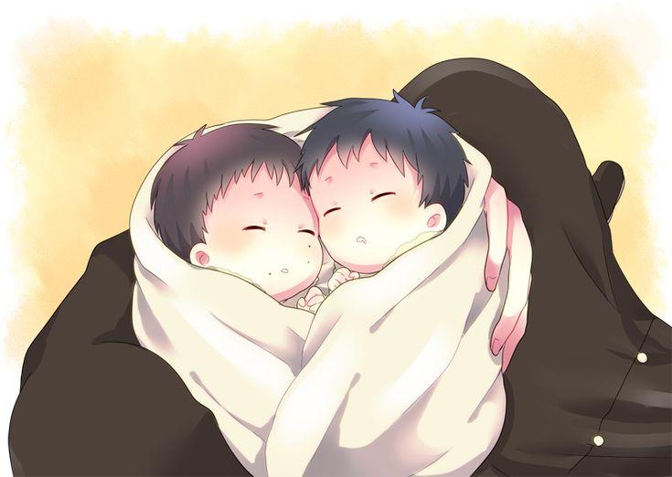 Shiro holding baby Rin and Yukio | Ao no Exorcist