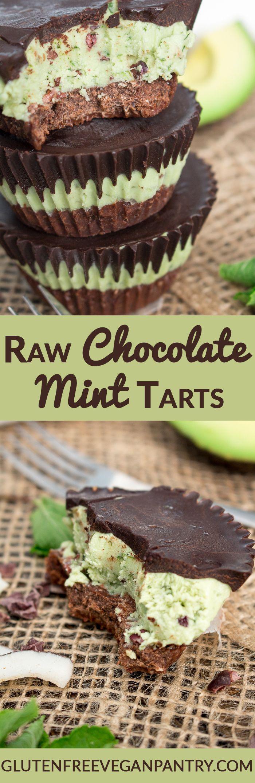 Raw Chocolate Mint Tarts - Gluten-free, vegan