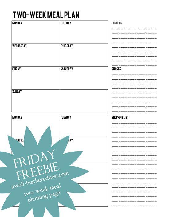 Best Free Printables Menu Plans Images On   Free