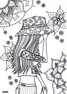 Summer girl. Free printable. Coloring page for adults. Free download. Gratis kleurplaat voor volwassenen. Zomermeisje.