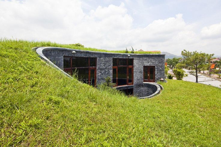 Grass Flat Roof in Stone House Architecture Design