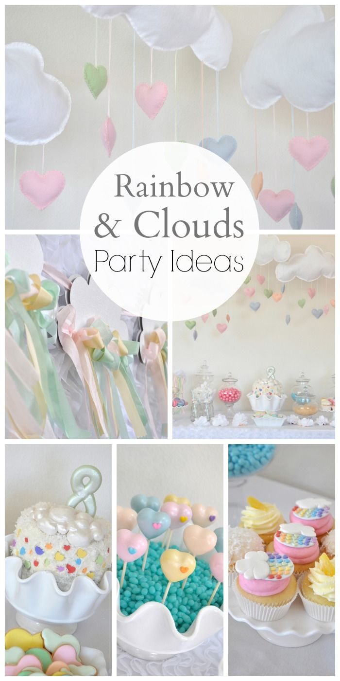 What a gorgeous rainbow and clouds girl birthday party! Perfect for a rainy day! See more party ideas at CatchMyParty.com.