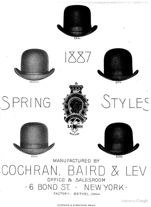 Several varieties of gentlemen's hats. From The Clothier and Furnisher, January 1887.  [via boxofshiny]