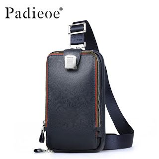 PADIEOE Men leather chest bag Casual crossbody bag Mens clutch bag high quality chest waist pack genuine leather shoulder bags (32679879671)  SEE MORE  #SuperDeals