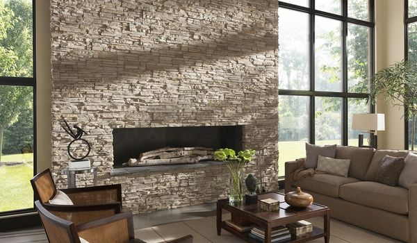 contemporary stone fireplaces designs - Google Search