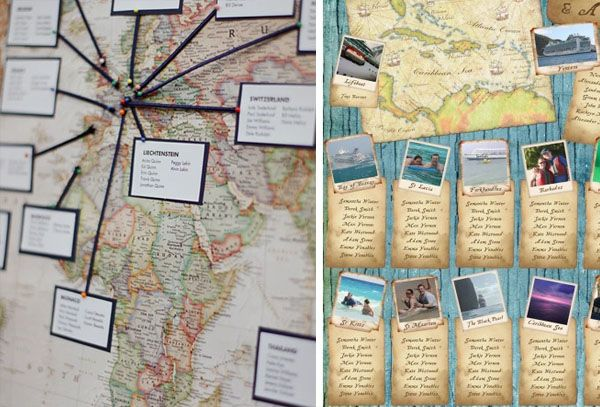 tableau mariage con mappa a tema viaggi