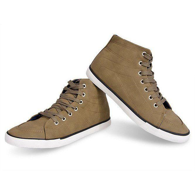 Wysokie Trampki Casual 033 Khaki Zielone High Sneakers Sneakers Casual Sneakers