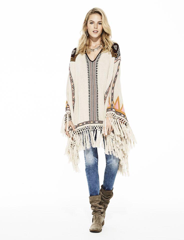 Odd Molly wilderness poncho 615M-638 and stretch it slim-fit jean 615M-223 | FW15 Lookbook | Knitwear