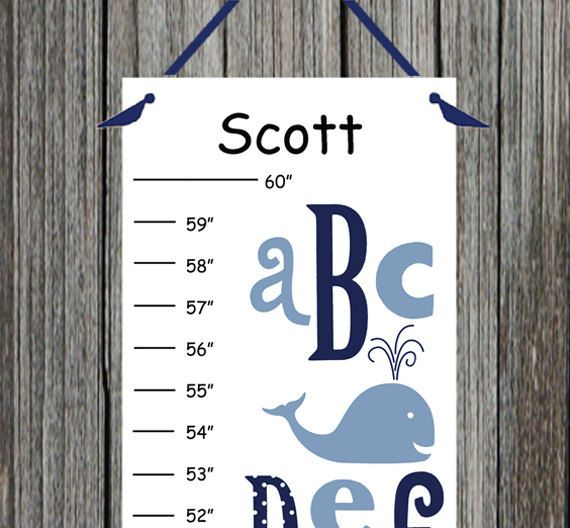 Personalized ABC Whale Canvas Growth Chart by CamieTurnerDesigns, $21.00
