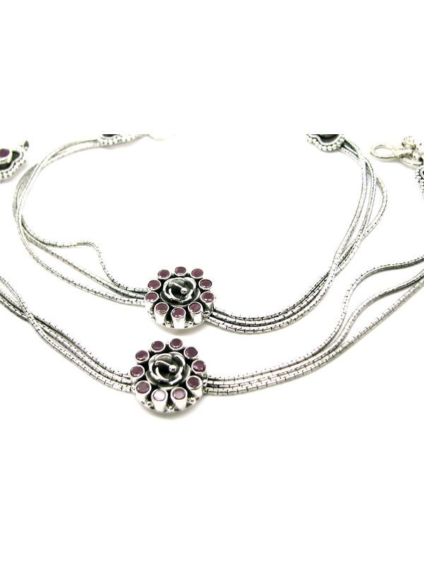 2e002ef46b1 Ruby Stone Antique Tribal 925 Sterling Silver Gypsy Ankle chain Anklets  10.9