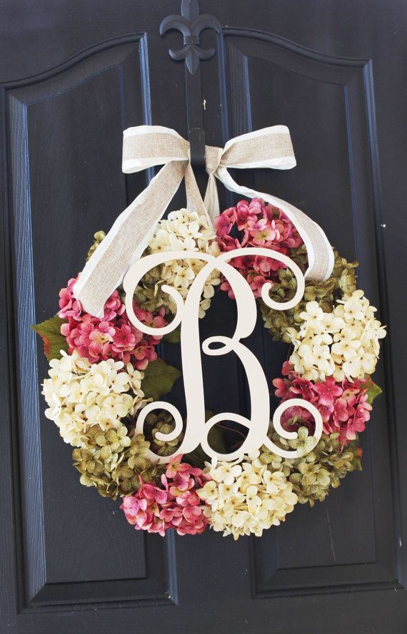 Hydrangea+Wreath++Spring+Wreath+for+Mom+Summer+by+OurSentiments,+$99.00
