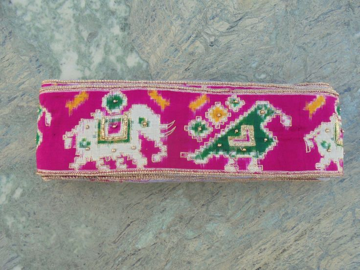 Beautiful Unused Silk Ikat Antique Sari Border with Elephants, parrots and Gold Beads and Thread. by LallibhaiIndia on Etsy