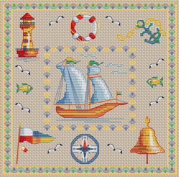 Gratis nautische watersport kruissteek borduurpatronen
