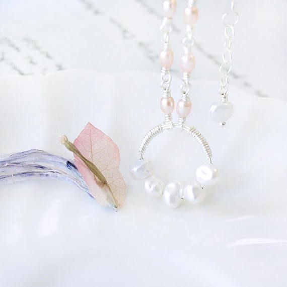 Silver Wire Wrapped White & Peach Freshwater Pearl Pendant