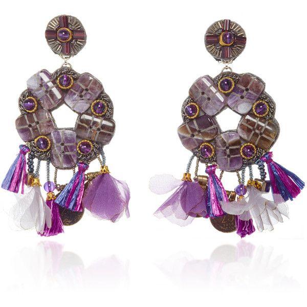 Ranjana Khan Amethyst Brass Earrings ($395) ❤ liked on Polyvore featuring jewelry, earrings, ranjana khan jewelry, earrings jewelry, amethyst jewellery, amethyst jewelry and brass jewelry
