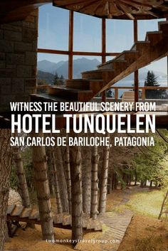 Witness the Beautiful Scenery from Hotel Tunquelen, San Carlos de Bariloche, Patagonia San Carlos de Bariloche or Bariloche is an amazing town located in Patagonia, Argentina. It is surrounded by the Andes Mountains thus, making it a great spot for ski lovers. It is also known for its delectable chocolates and the biggest city of the famous Lake District. While this is a popular destination during winter, Bariloche is also perfect during the hotter days.