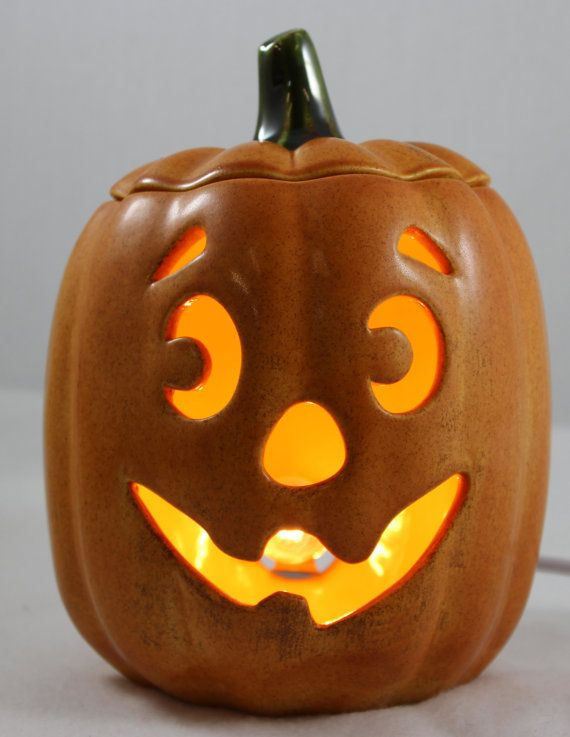 Light up ceramic pumpkin by artsonfireplano on etsy