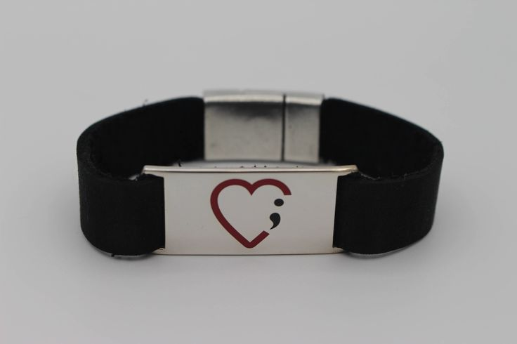 Love the contrast of red and black on this heart and semicolon mental health awareness bracelet.