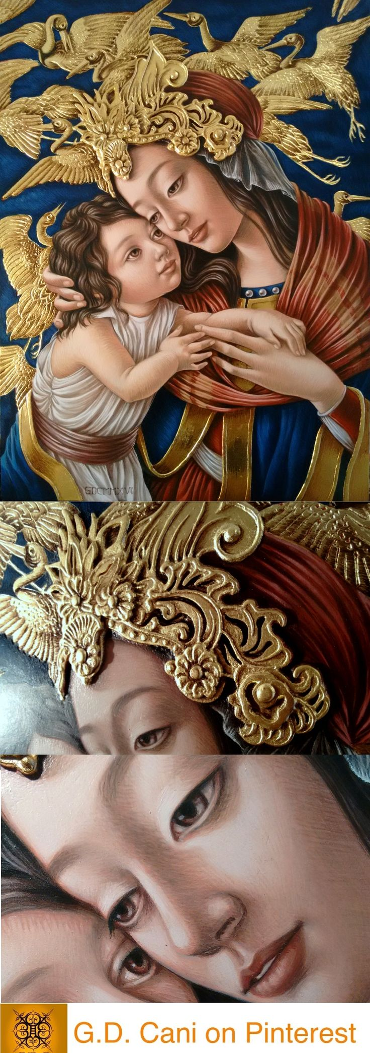 G. Dalli Cani - Nativity with Cranes - 2015-2016. Oil paint and 23CT gold leaf. Figures partially appropriated from Botticelli; head ornament inspired by Vietnamese Le Dynasty. Close up of 3D elements and eyes.