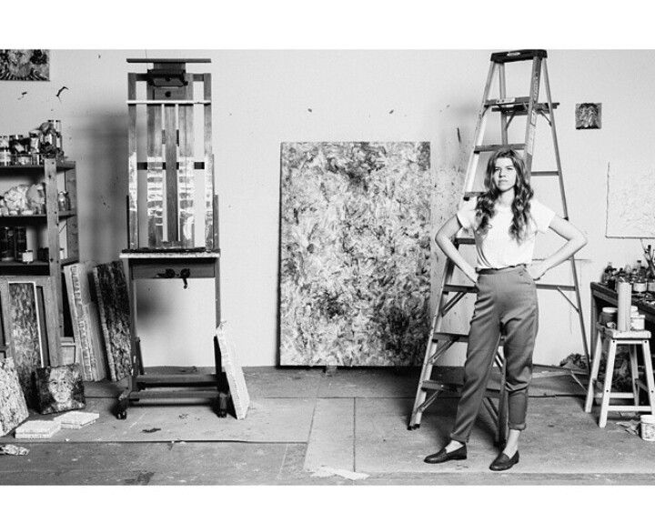 Vanessa Prager in her studio. B/W photography