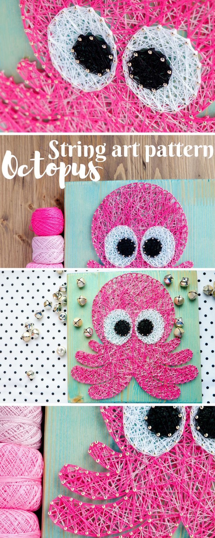modern string art pattern for baby octopus. great craft project for nursery or kids room!