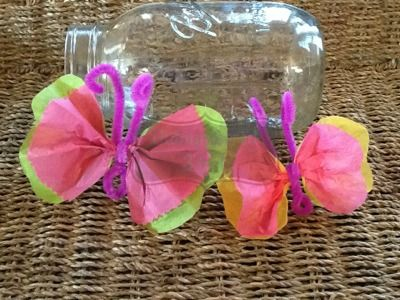 Outnumbered 3 to 1: Tissue Paper Butterfly Craft. Perfect for SPRING!