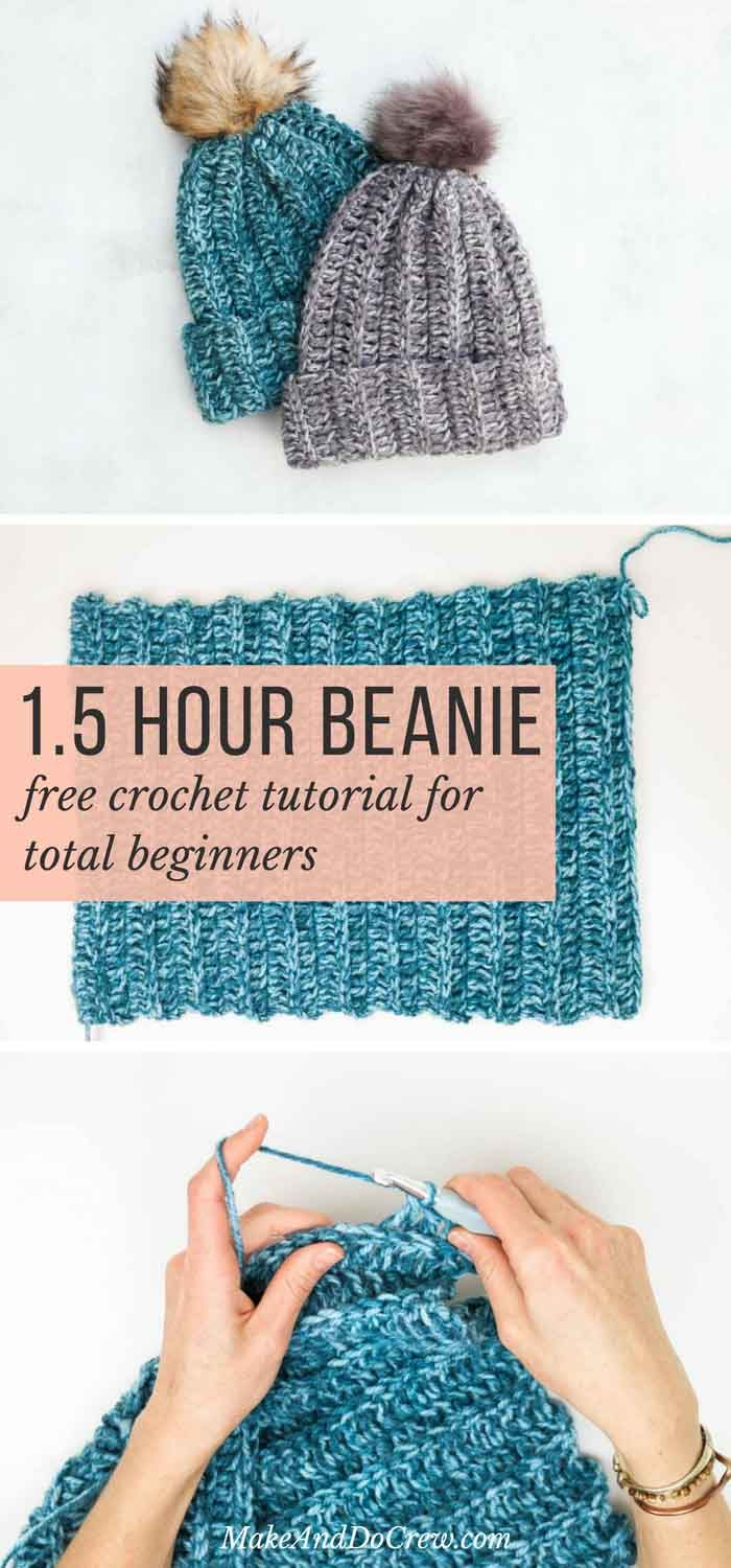 One Hour Free Crochet Hat Pattern For Beginners Tutorial Make