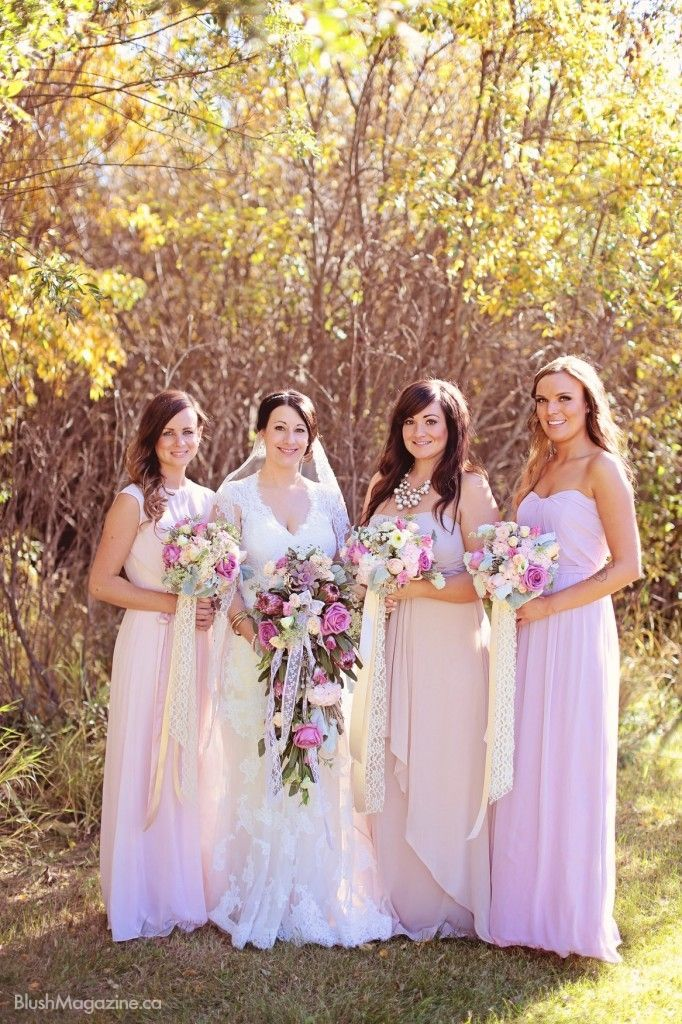 Kathryn & Marek's Whimsical Vintage Wedding. Bridesmaids, Pink Bridesmaid Gowns, Pink Bridesmaid Dresses, After Six Bridesmaid Gowns, Maggie Sottero Wedding Dress, Outdoor Bridal Party Photos, Wedding Photos